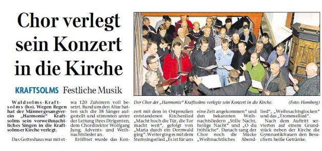 27 12 2012 chor verlegt sein konzert in die kirche - Zeitungsberichte