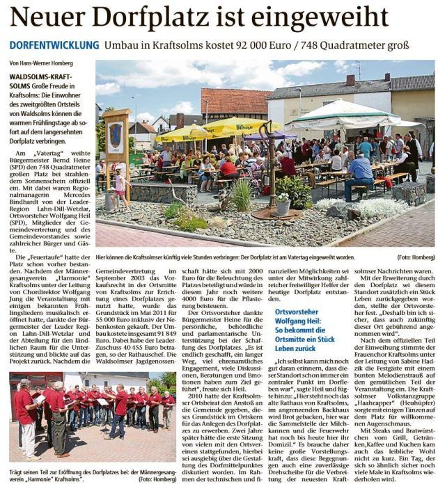 30 05 2017 neuer dorfplatz ist eingeweiht - Zeitungsberichte