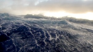 Fugro Discovery encounters rough conditions in the Southern Indian Ocean as the search for MH370 continues through the winter months. Source: ATSB, photo by John Draves.