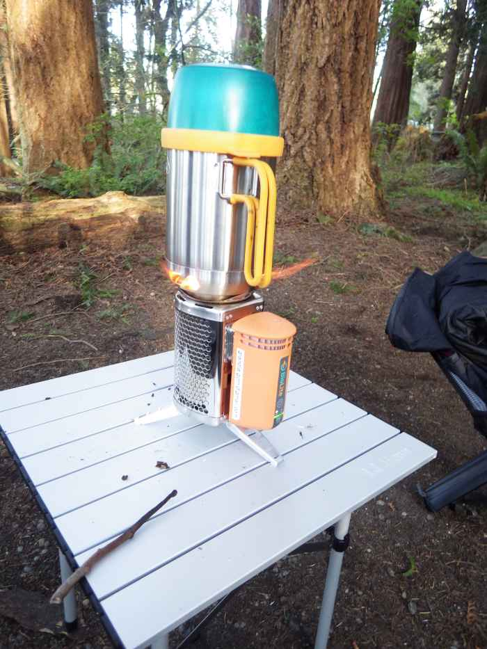 The Biolite Stove Boiling Water