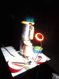 Biolite in Action with LED Camp Lite Powered by FIRE!!!