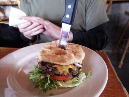 The epic burger at Sally's