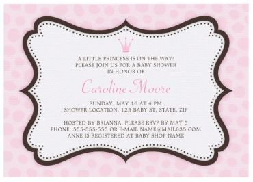 Elegant Pink And Brown Princess Baby Shower Invitation