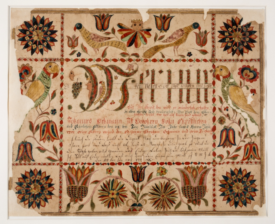 Mennonite Heritage Center, Harleysville; fraktur