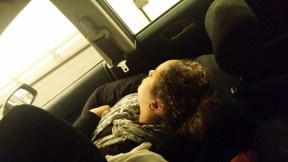Taiba gets some shut eye in the Eurotunnel