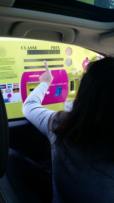 Dahlia is NOT impressed with the French toll booths