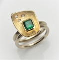 18ct white and yellow gold with emerald and diamonds (£2750)