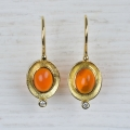 18ct gold with fire opal and diamonds (sold)