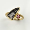 18ct with rutilated quartz and rhodolite (£920 sold)