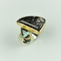 22ct and silver with rutilated quartz and green tourmaline (£860)