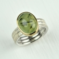 silver and 18ct gold with rutillated prehnite (£480 sold)