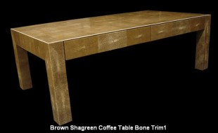 Brown Shagreen Coffee Table Bone Trim1