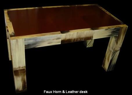 Faux Horn & Leather desk