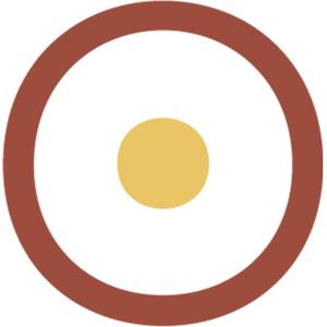 Brauner Kreiss auf weißem Grund. In der Mitte ein kleiner beiger Punkt