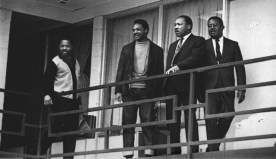 Martin Luther King Jr. stands with other civil rights leaders (including Jesse Jackson) on the balcony of the Lorraine Motel in Memphis, Tenn., on April 3, 1968, a day before he was assassinated.