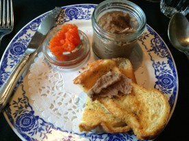 Wild caribou and bison rillettes with a carrot glaze.