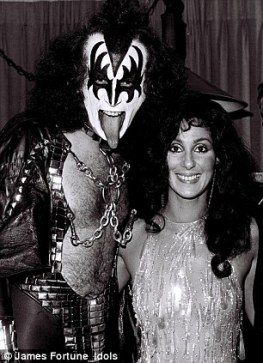 Cher with Kiss' Gene Simmons 1979