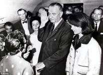Swearing in: President Lyndon Baines Johnson took his oath of office on Air Force One