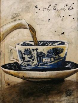 """""""...sol, la, si, do. Gretchen, verse le thé aux tasses de Yeddo."""" (122 x 91 cm)"""