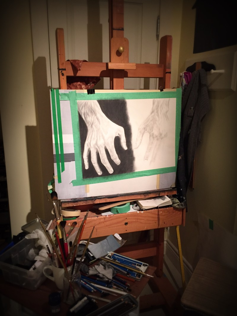 Hand study number 3 in progress