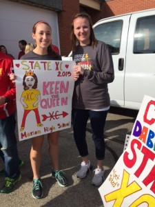 Mia Laube, '18, made a poster featuring Coach Terri Keeney showcasing her pregnant belly.