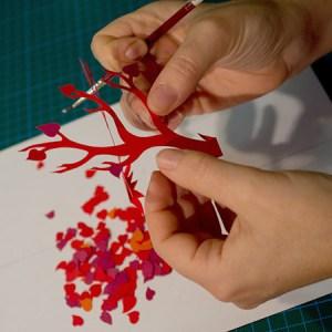 Montage carte Arbres croisés Automne rouge