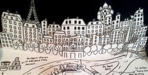 Valise d'artiste avec livre pop-up, page Paris-Ardèche