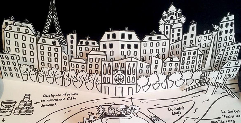 Valise d'artiste, livre pop-up page Paris et Ardèche