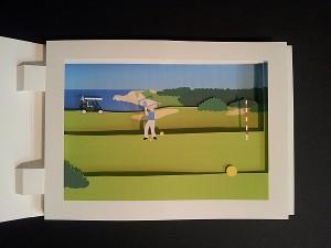 Diorama sur le thème du golf, vue de face avec ombres
