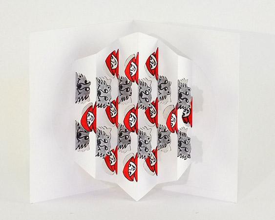"""Rencontres attendues """"Petit Chaperon Rouge"""", intérieur de la carte posée à la verticale"""