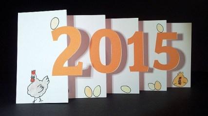 Carte de vœux 2015 kirigami, motifs poules