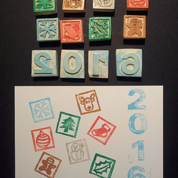 Tampons faits main et essai tamponnage, cartes de voeux 2016 motifs Noël