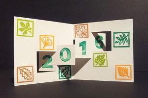 Carte de voeux 2016, kirigami 2, motifs arboricoles