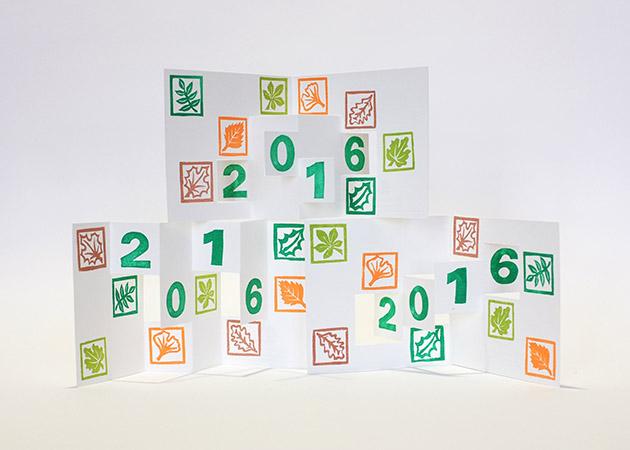 Carte de vœux 2016 kirigami, motifs Arboriculture, vue des 3 modèles