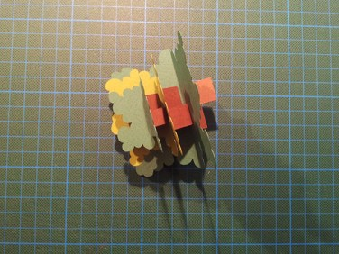 Arbres cèdres montés, avant collage sur carte support, été
