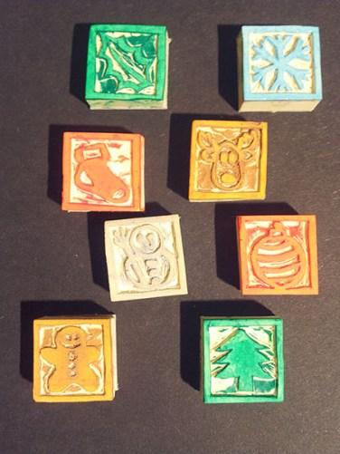 Tampons cartes de voeux 2016, faits main, motifs Noël