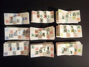 Mise en production des cartes de voeux 2016 en kirigami, version imprimée, thémes Marine, Arboriculture et Noël