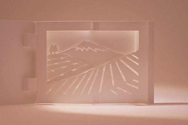 Diorama Plantations de thé, Japon, détail avec éclairage