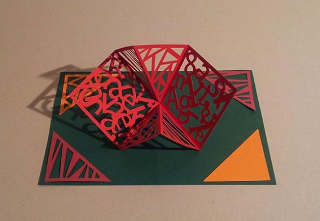 Carte Carré d'anniversaire, abstrait vert-foncé et rouge, avant montage