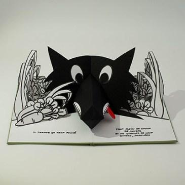 Projet livre pop-up, loup dans un potager, face