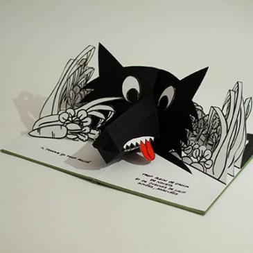 Projet livre pop-up, loup dans un potager, profil