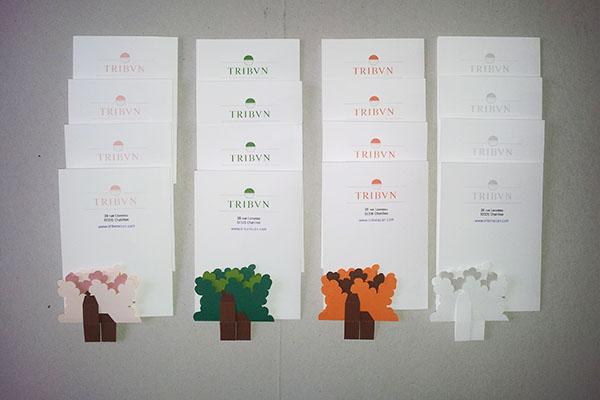 Verso des cartes support avec logo de la société TRIBVN