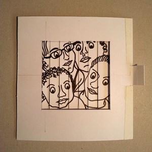 Carte d'anniversaire personnalisée en pop-up, maquette de travail.. Portrait de famille, position 1.