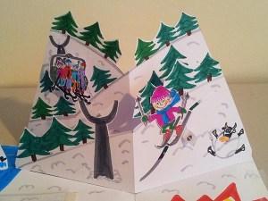 Carte d'anniversaire personnalisée en pop-up, version de travail démontable. Scène du ski.