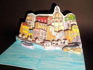 Coaching pour la réalisation d'une carte d'anniversaire avec le port de Procida, Italie. Vue côté droit