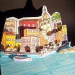 Coaching pour la réalisation d'une carte d'anniversaire avec le port de Procida, Italie. Vue côté gauche