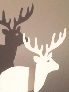 Décorations de Noël, motif cerf, papier blanc, détail