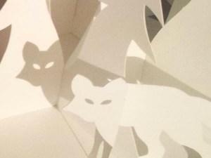 Décorations de Noël, motif renard, papier blanc, ombre sur sapin
