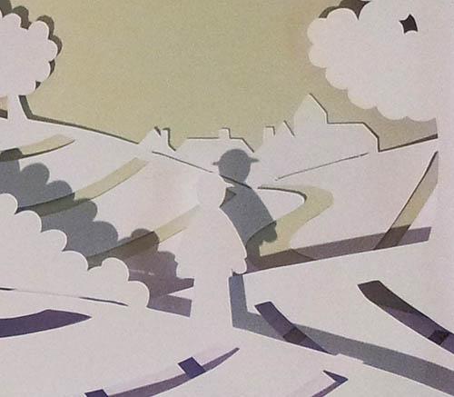 Projet de livre pop-up, Le bonheur… d'après Paul Fort, Flammarion Jeunesse. Détail pop-up strophe 1, personnage et village