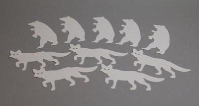 Etiquettes de table avec renard et ours